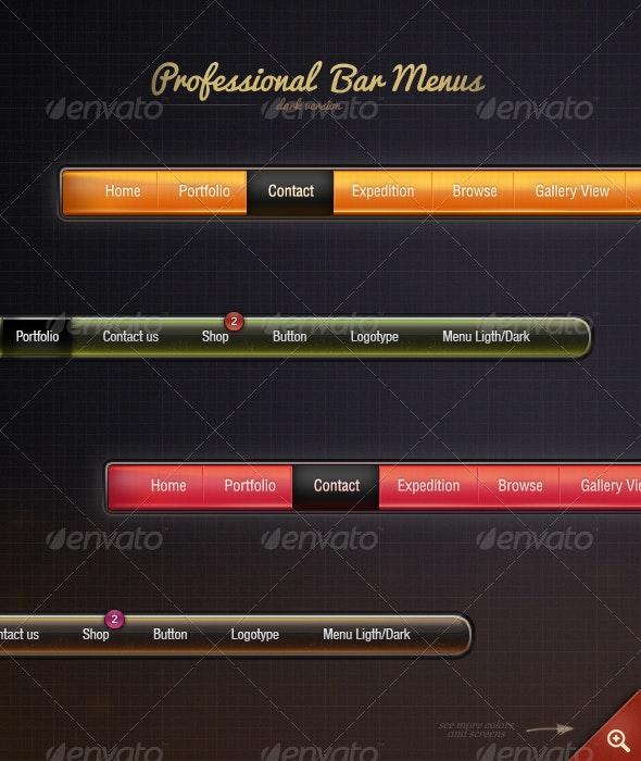 Professional Menu - Dark - Navigation Bars Web Elements