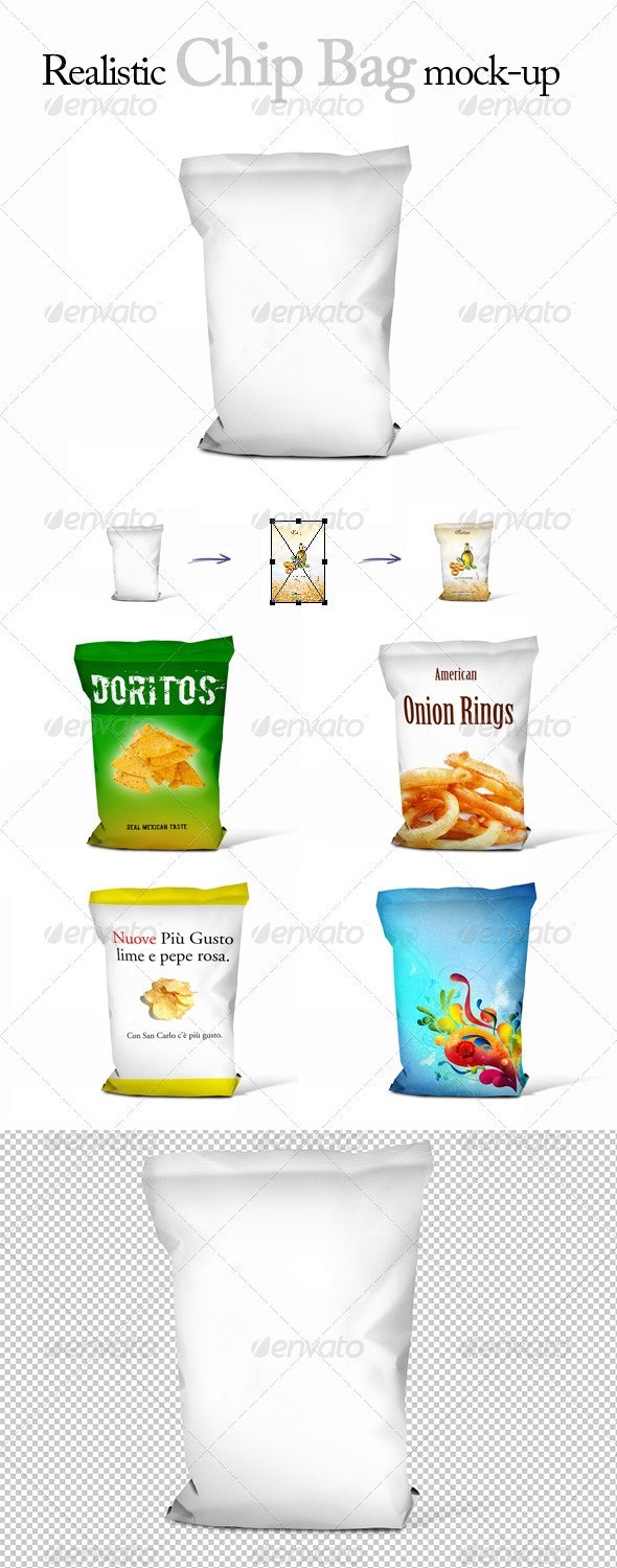 Realistic Chips Bag Mock-Up - Food and Drink Packaging