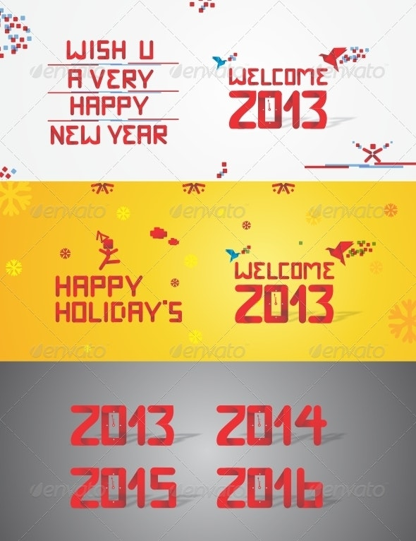 Welcome 2013 Stylish Text - New Year Seasons/Holidays