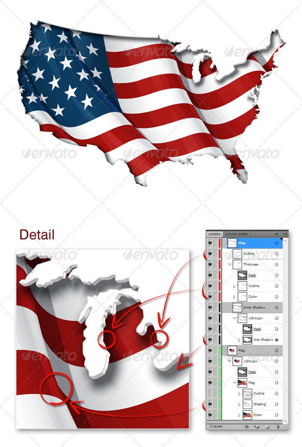 US Flag-Map Inner Shadow - Miscellaneous Vectors