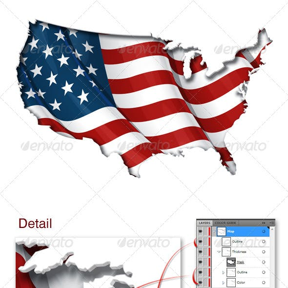 US Flag-Map Inner Shadow