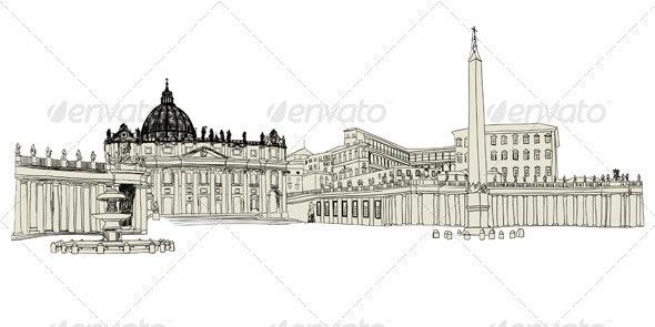 Vatican Sketch - Buildings Objects