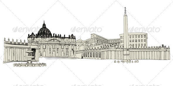 Vatican Sketch - Buildings Objects