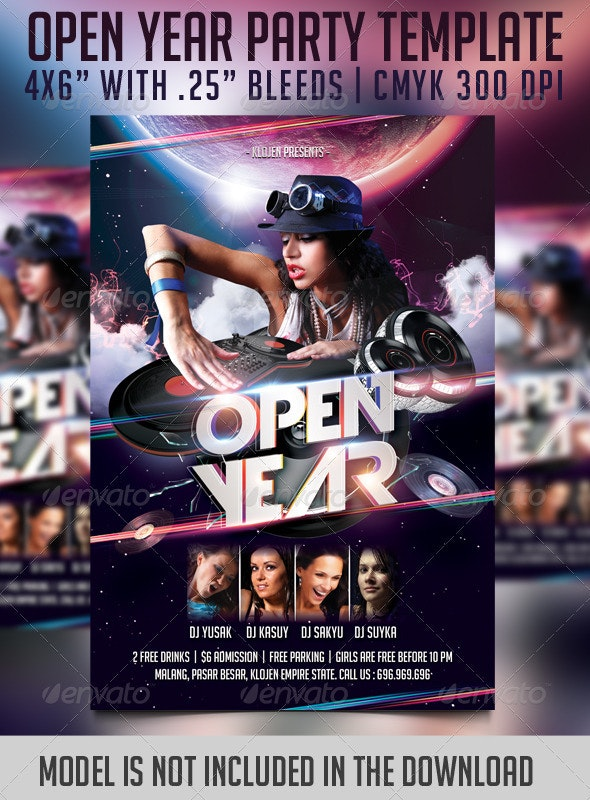 Open Year Flyer Template - Clubs & Parties Events