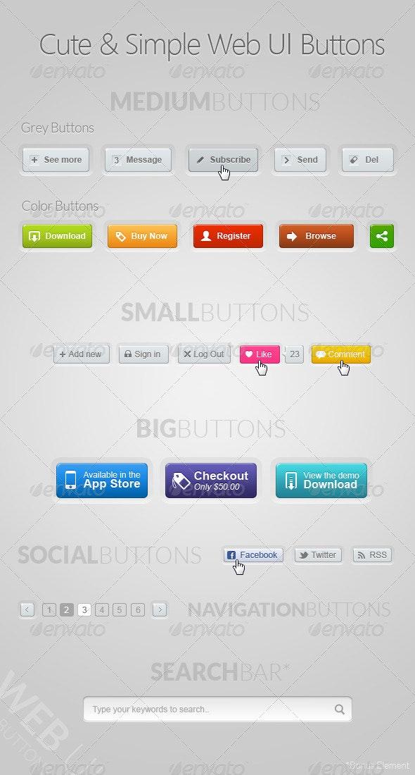 Cute & Simple Web UI Buttons Kit - Buttons Web Elements