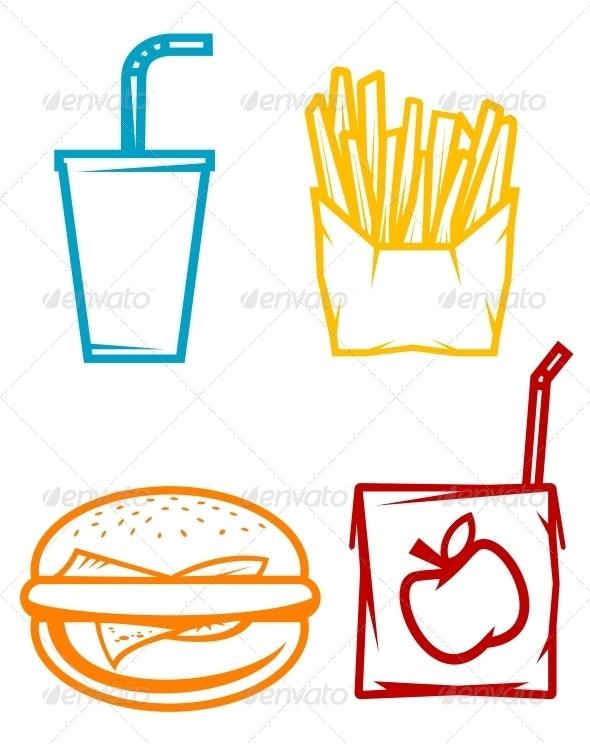 Fast Food Symbols - Food Objects