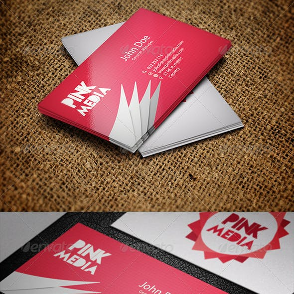 Pink Media Business Card template