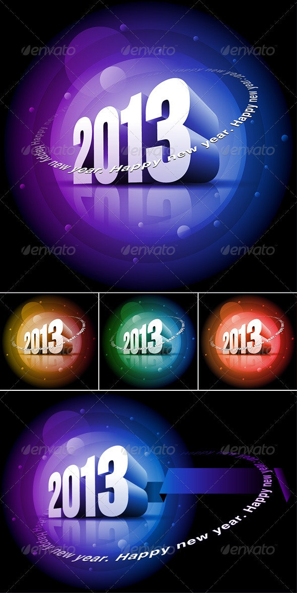 3d 2013 Happy New Year - New Year Seasons/Holidays