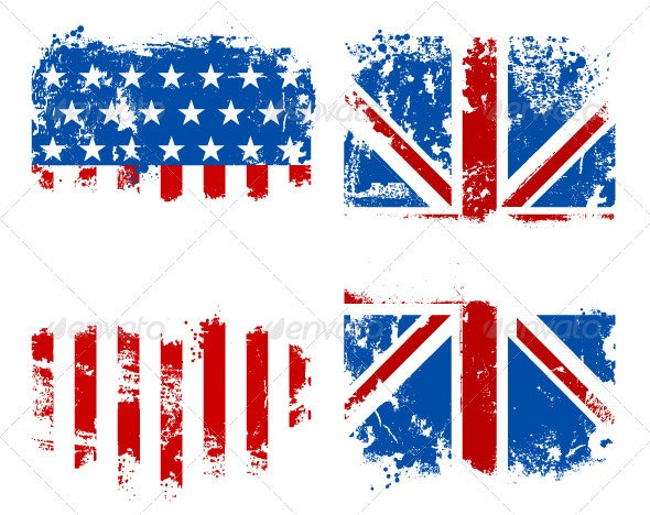 Grunge Banners USA and UK National Flags - Vectors