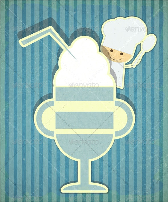Design of Dessert Menu with Chef and Ice Cream - Food Objects