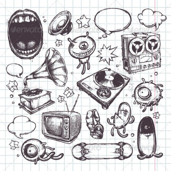 Set of Hand Drawn Elements