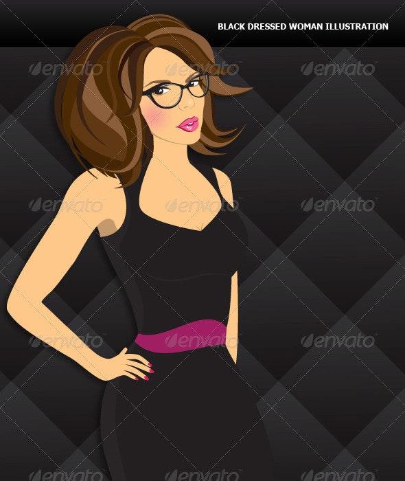 Black Dressed Woman - People Characters