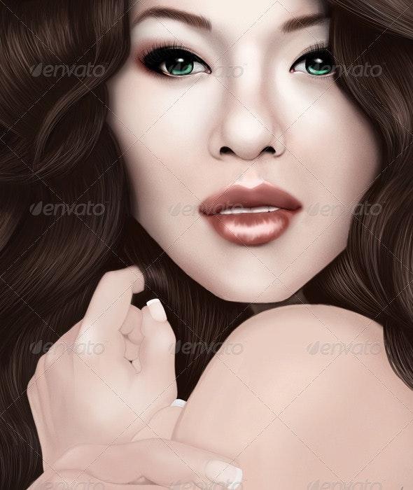 Brunette Girl - Illustrations Graphics