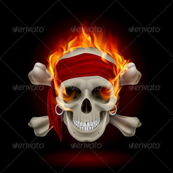 Skull in Flames - Halloween Seasons/Holidays