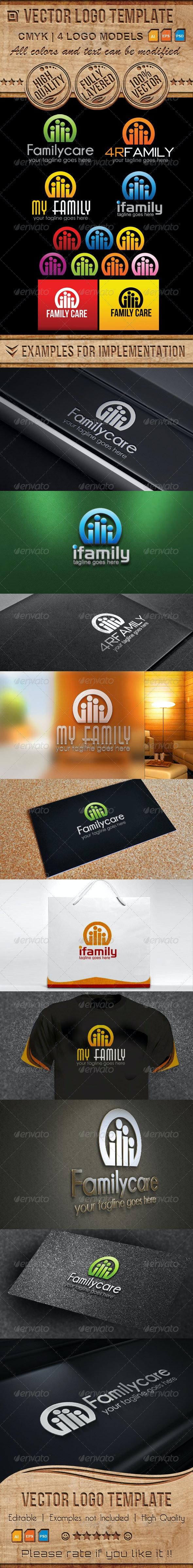 Family, Care, Custom Vector Logo Template  - Humans Logo Templates