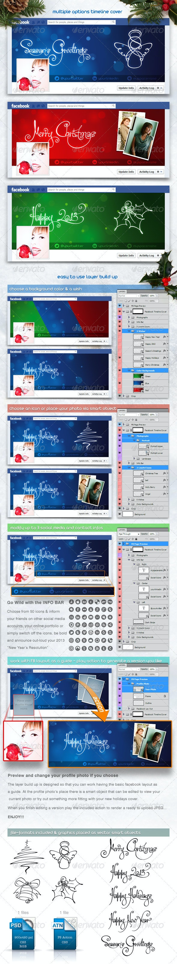 FB Christmas and New Year Multiple Timeline Cover - Facebook Timeline Covers Social Media