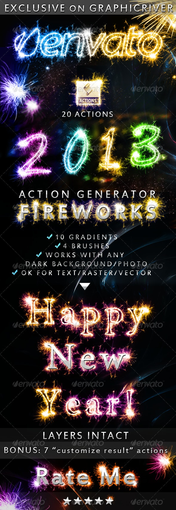 Fireworks Sparklers Effect Photoshop Action - Actions Photoshop
