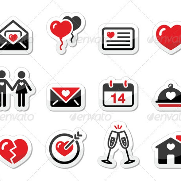 Valentines Day Love Icons Set as Labels
