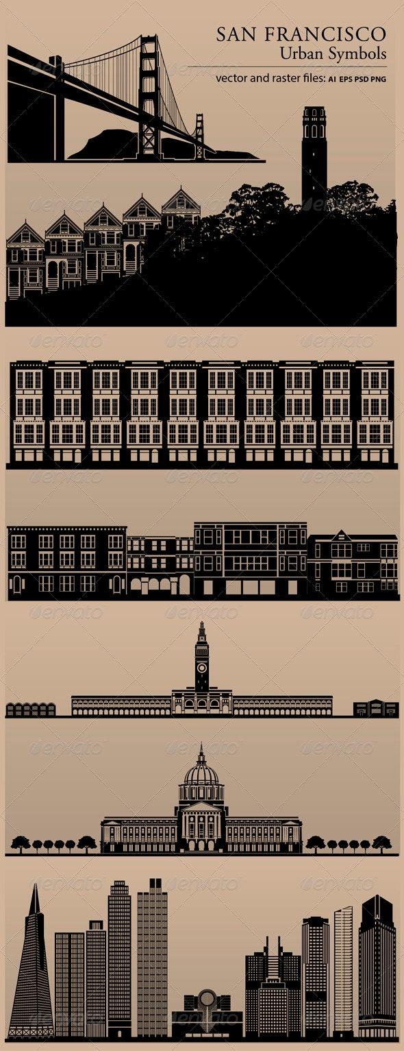 San Francisco Urban Symbols - Buildings Objects