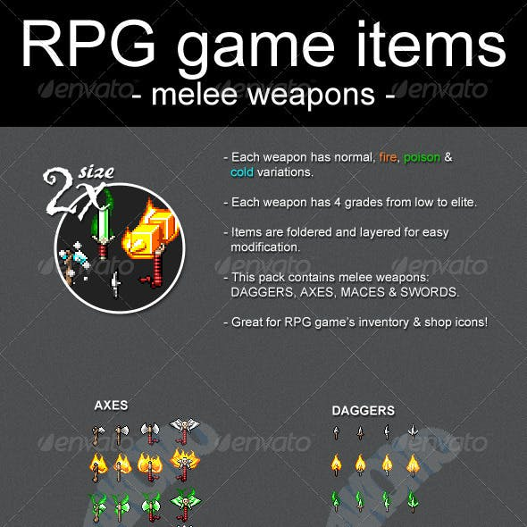 RPG Game Items Melee Weapons