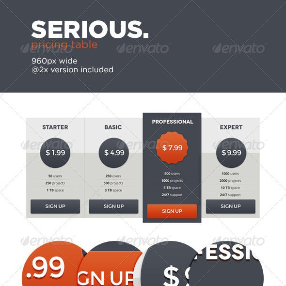 Serious Pricing Table