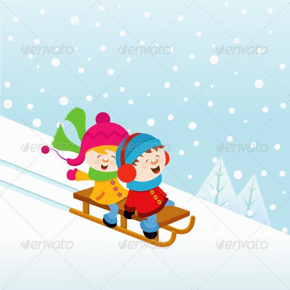 Kids Sledding On The Snow - People Characters