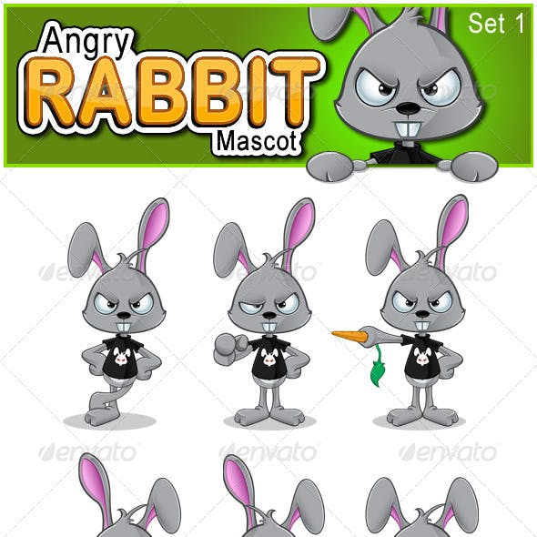 Angry Rabbit Mascot - Set 1