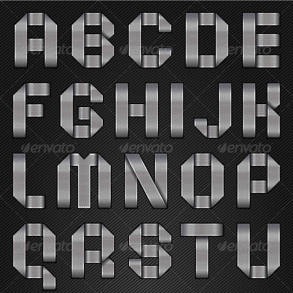 Letters Folded From Metallic Chromium Ribbon