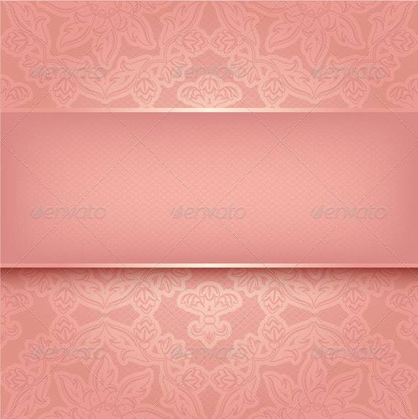Lace on Background. Ornamental Pink Greeting Card - Backgrounds Decorative
