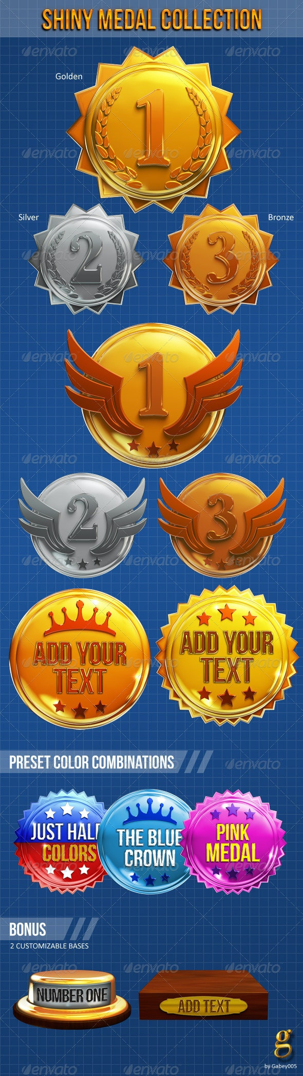 Shiny Medal Collection - Objects 3D Renders