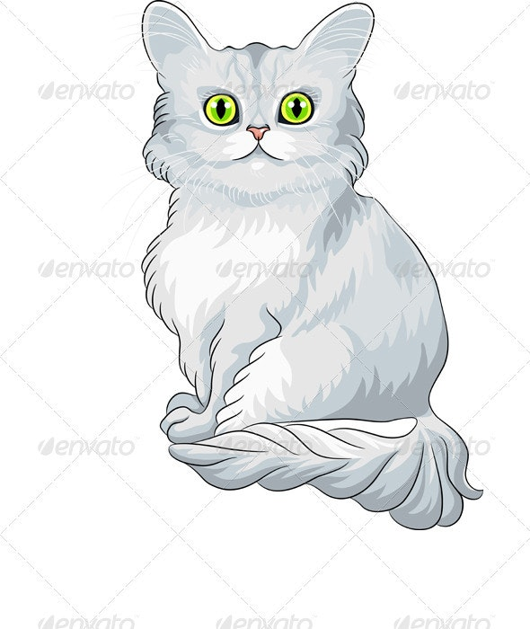 Vector Cute Blue Tiffany Cat Sitting - Animals Characters