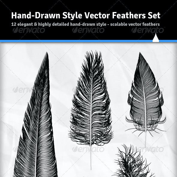 12 Various Hand Drawn Style Vector Feathers