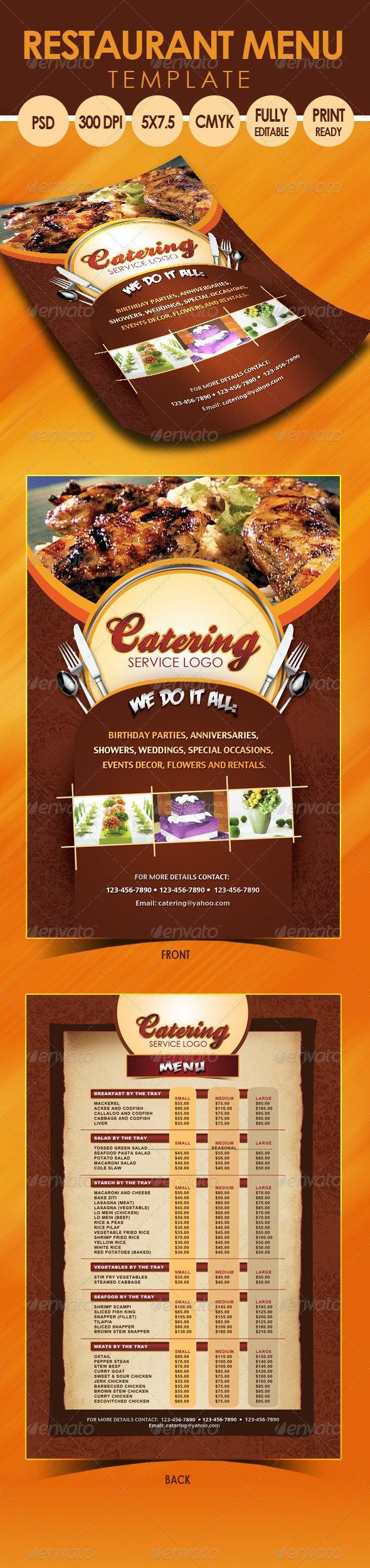 Catering Menu Template (Flyer) - Restaurant Flyers