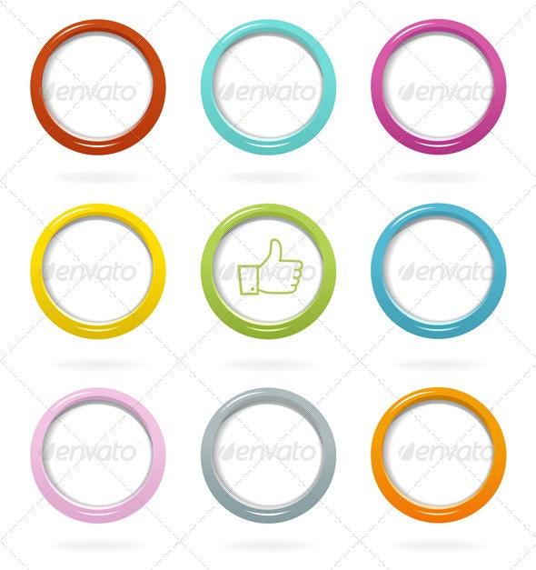 Colorful Web Bubbles Set - Web Elements Vectors