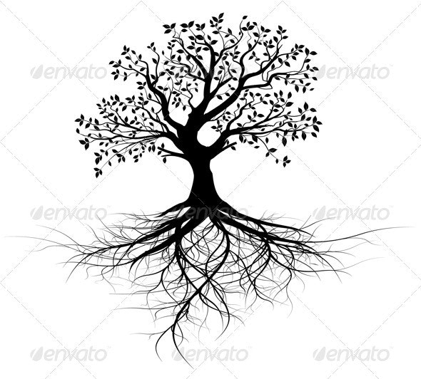 Vector Tree with Roots Silhouette, Black Outline - Nature Conceptual