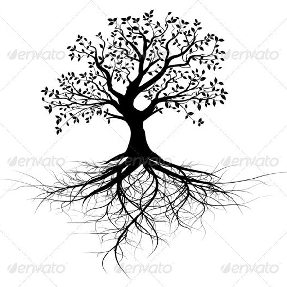 Vector Tree with Roots Silhouette, Black Outline