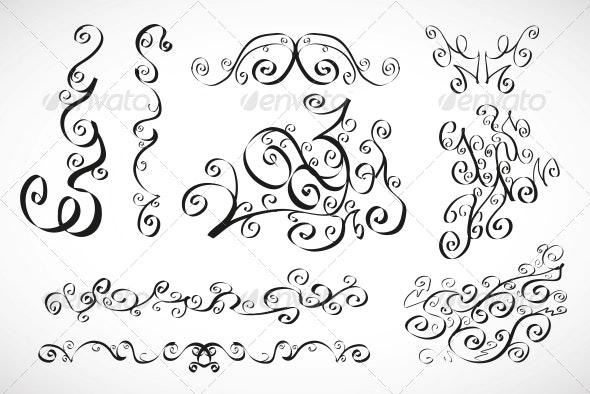 Vector Calligraphic Design Elements - Smooth Floral - Flourishes / Swirls Decorative