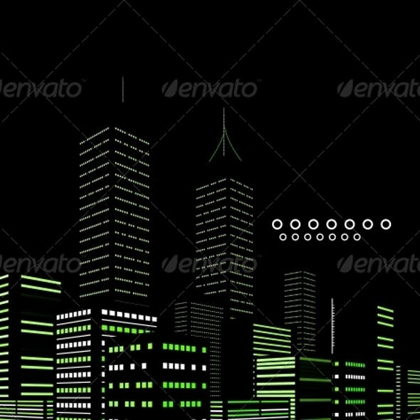 Night Modern City Vector Abstract Background