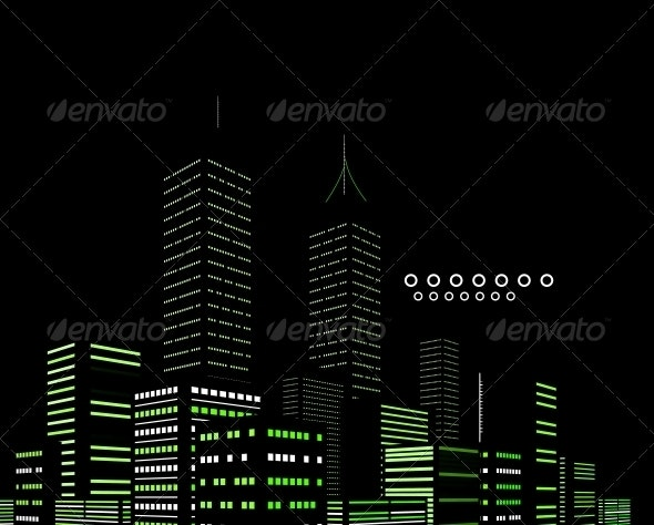 Night Modern City Vector Abstract Background - Backgrounds Decorative