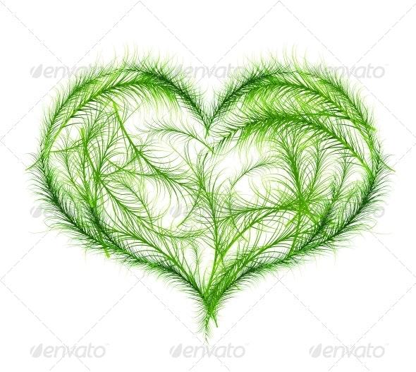Green Heart Vector Illustration - Decorative Symbols Decorative