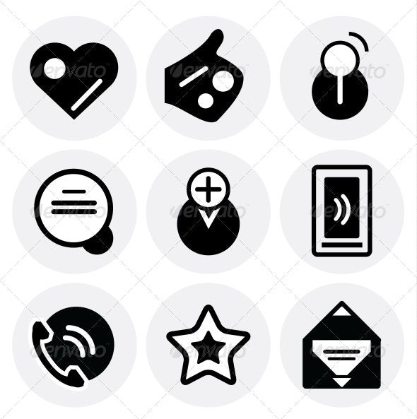 Vector black social icons. Icon set - Decorative Symbols Decorative
