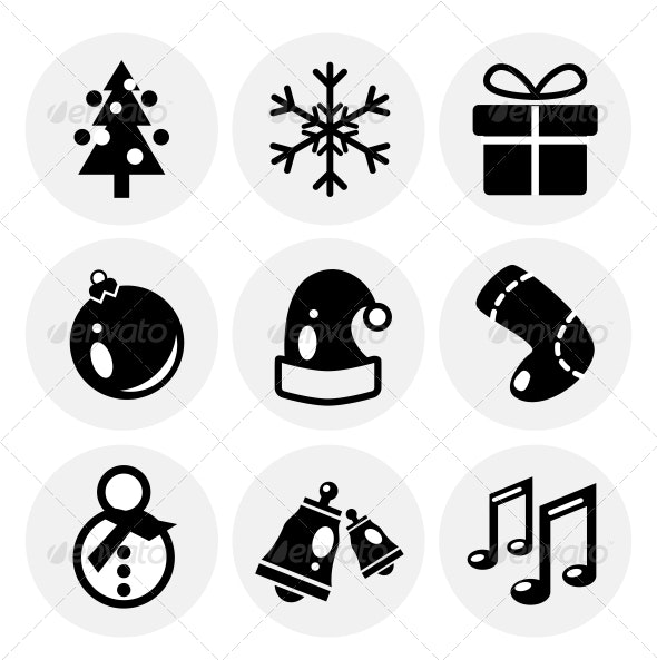 Vector Black Christmas Icons. Icon Set - Decorative Symbols Decorative