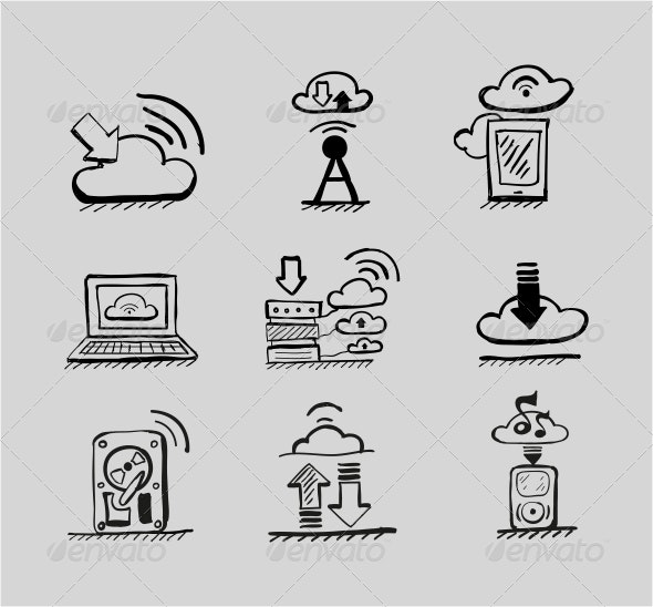 Hand-drawn Cloud Concepts - Vector Icon Set - Web Technology