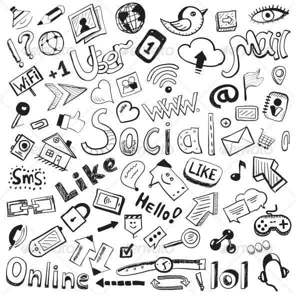 Vector Hand-drawn Icons - Modern Social