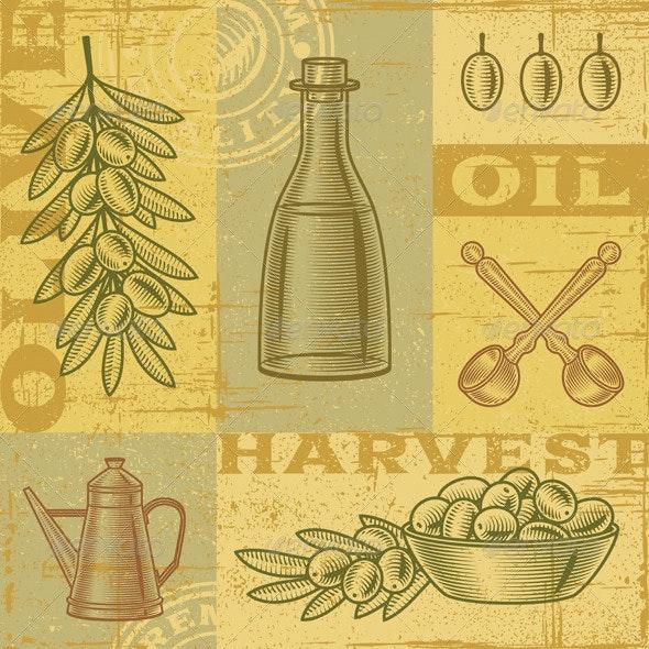 Vintage Olive Harvest Background - Food Objects