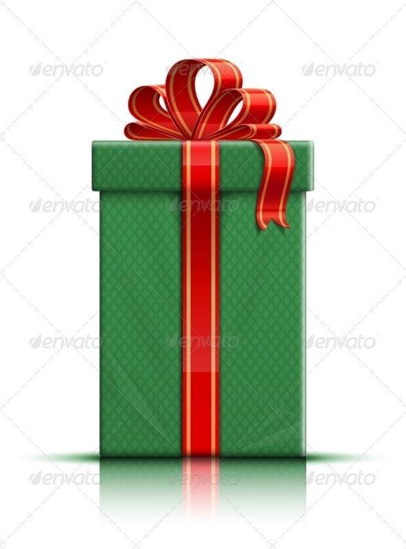 Green Gift Box with Red Silk Ribbon and Bow - Seasons/Holidays Conceptual