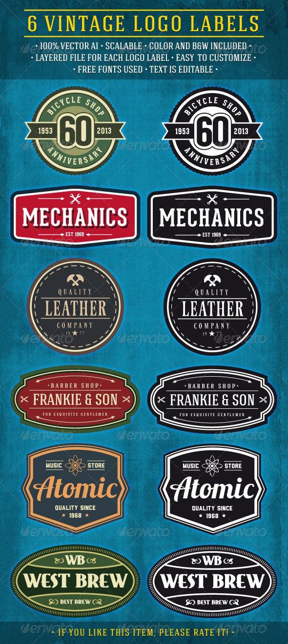 6 Vintage Logo Labels
