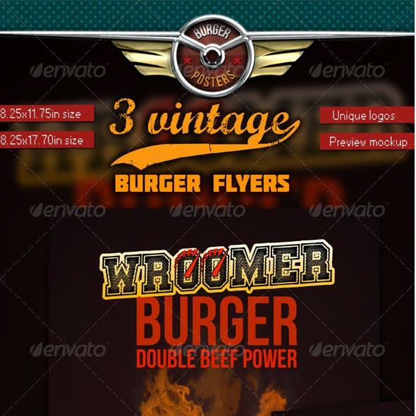 3 Burgers Vintage Posters (Flyers)