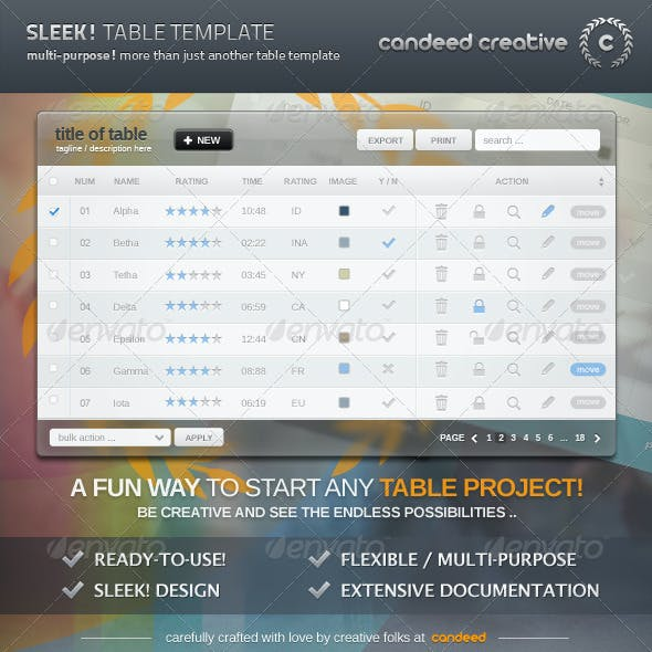 Sleek! Table Template