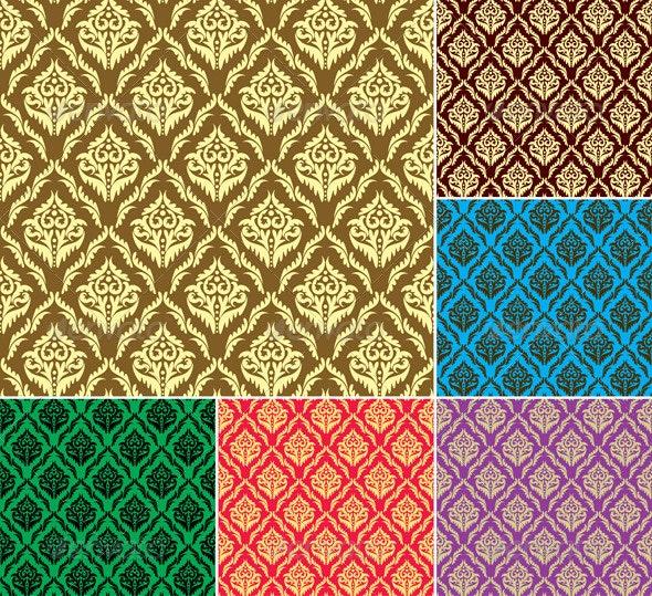 Set - Vintage Patterns with Gold Ornament - Patterns Decorative